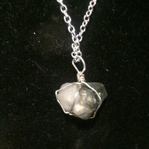 Crystal on sterling silver chain necklace